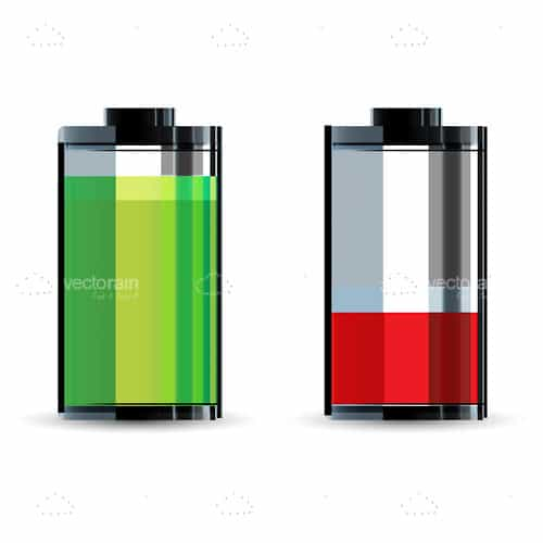 Green Full and Red Empty Battery Icons
