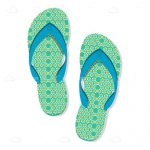 Light Green Illustrated Flip Flops