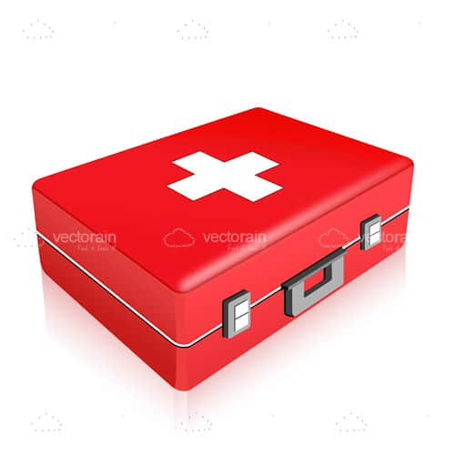3D Red First Aid Kit with White Cross