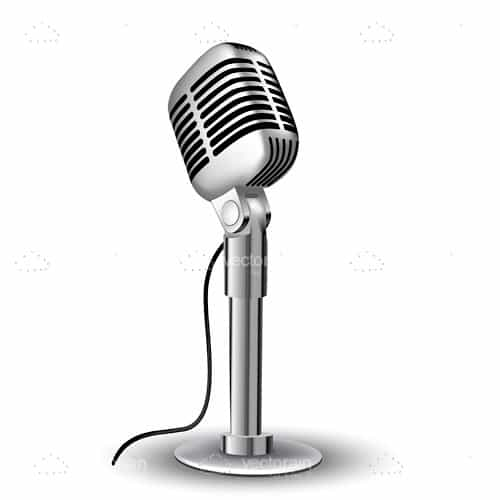 Illustrated Silver Cardioid Microphone