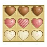 9 Heart Shaped Chocolates in a Golden Box
