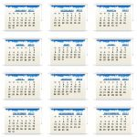 Set of Twelve Monthly Calendar Sheets