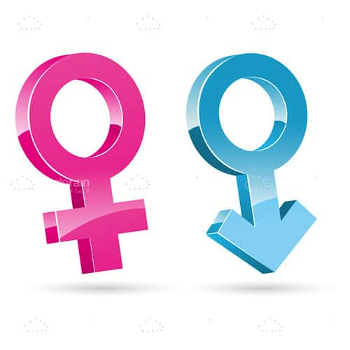 Glossy Male and Female Symbols