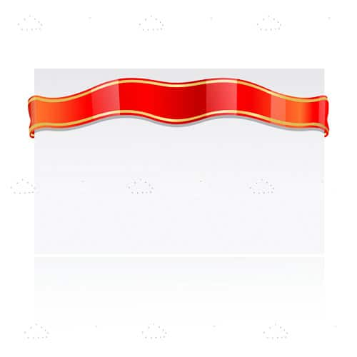 White Card with Glossy Red Ribbon