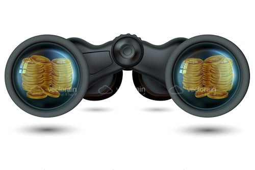 Pair of Binoculars with Gold Coins