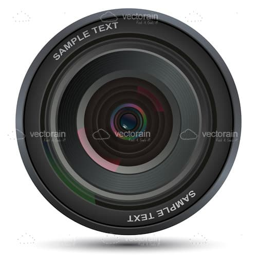 Camera Lens with Sample Text