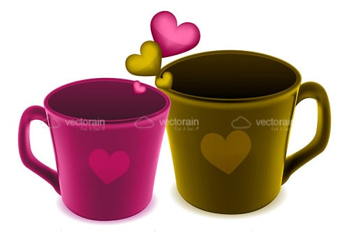 Colorful Coffee Cups or Mugs with Hearts