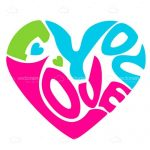 Abstract Colourful Heart with 'I Love You' text
