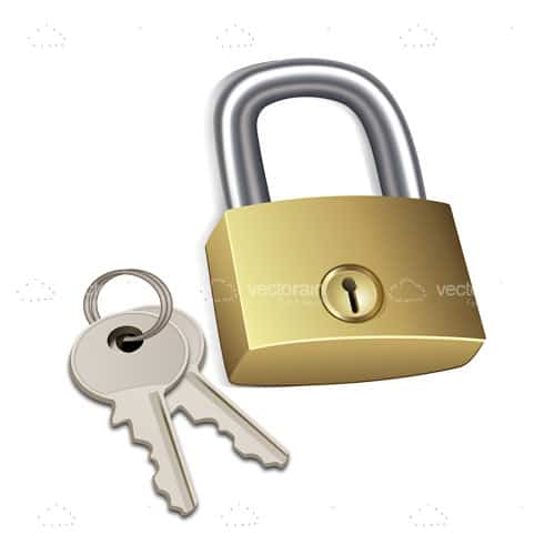 Padlock with a Pair of Keys