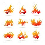 Set of 9 Fire Shaped Icons