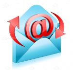Red Email Icon with Blue Envelope