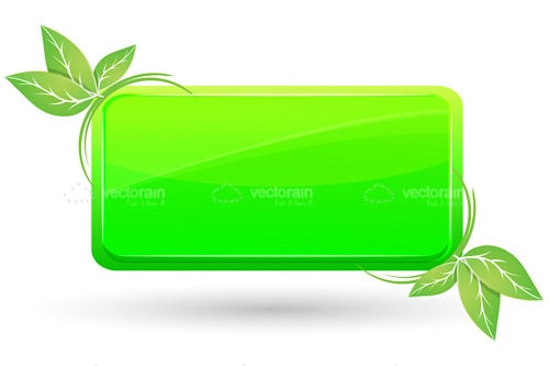 Green Tag with Decorative Leaves