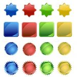 Colorful Badges Icons in Different Shapes