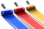 Trio of Paint Rollers Painting Colourful Stripes