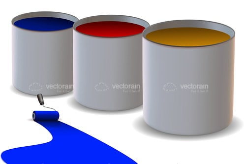 Open Paint Cans with Roller