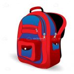 Red and Blue Illustrated School Bag