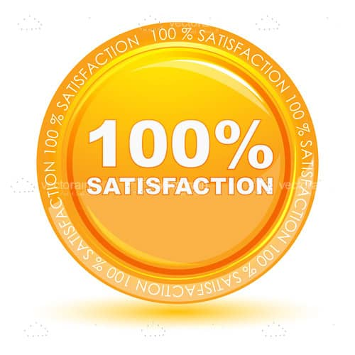 100% Satisfaction Badge in Gold