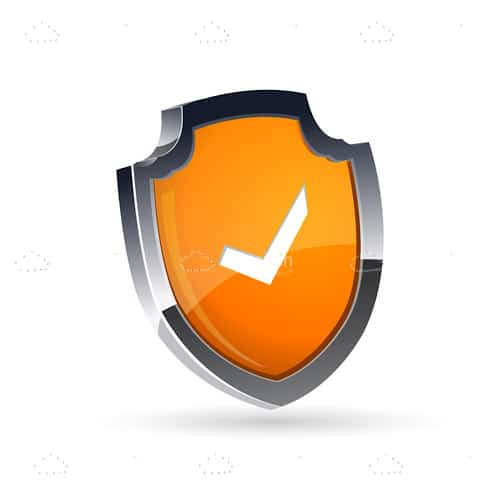Abstract Shield with White Tick Mark Inside - Vectorjunky