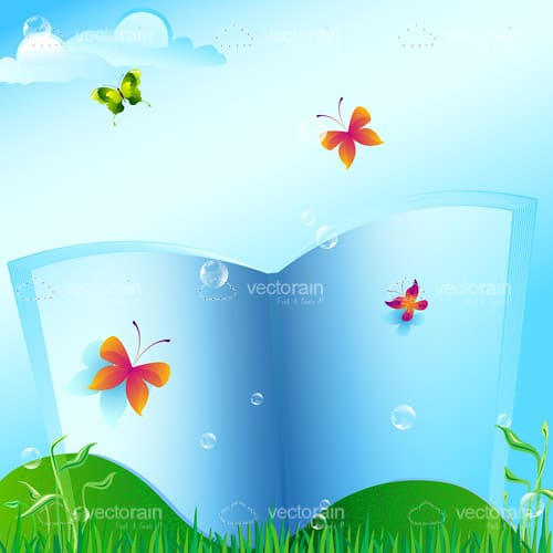 Blank Open Book with Butterflies in Nature Landscape