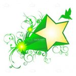 Abstract Yellow Star on Green Floral Background