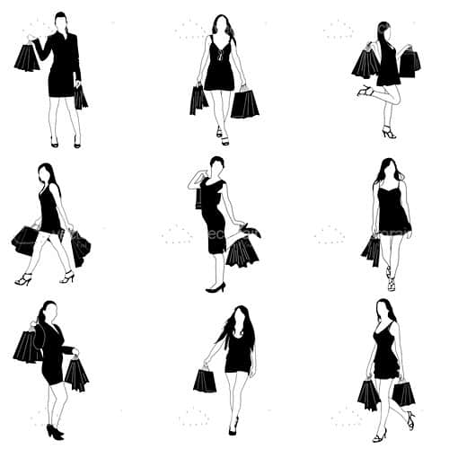 Female silhouette Shopping Icon Pack