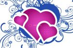 Purple Hearts with Blue Ornaments