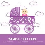 Abstract Baby in Purple Trolley with Sample Text