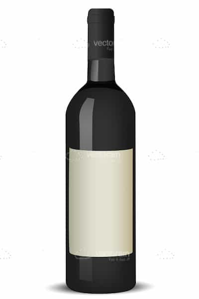 Black Wine Bottle with Blank White Label