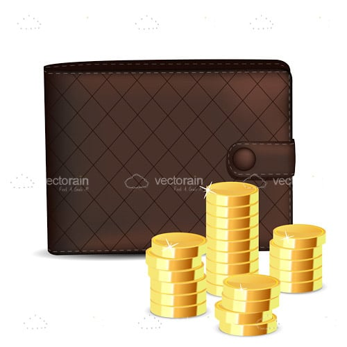 Wallet with Piles of Coins
